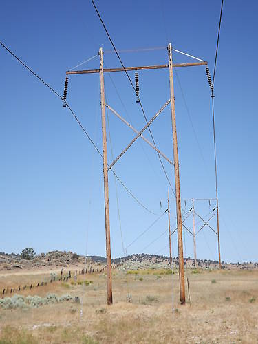 Stacked H Frame Electrical Poles : Insulators in service gt rural transmission line with